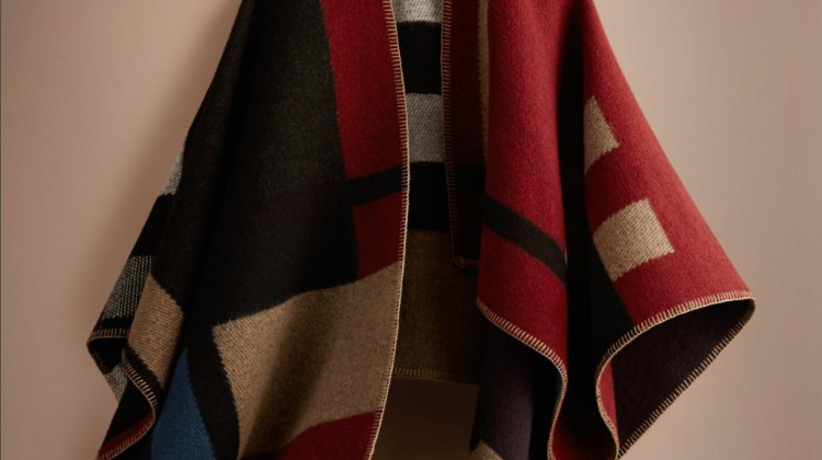 COLOUR BLOCK CHECK BLANKET PONCHO BURBERRY 895 GBP