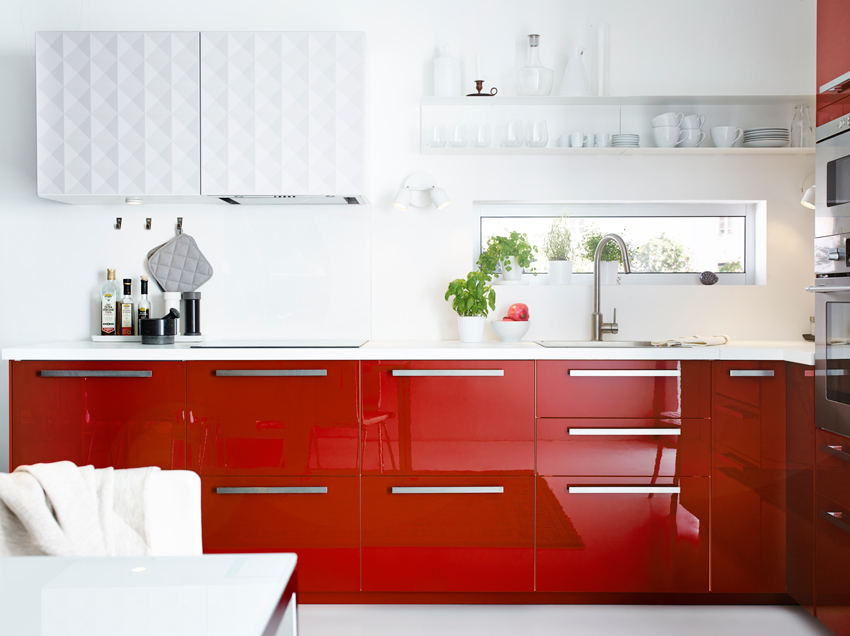 ikea cuisine rouge brillant. Black Bedroom Furniture Sets. Home Design Ideas