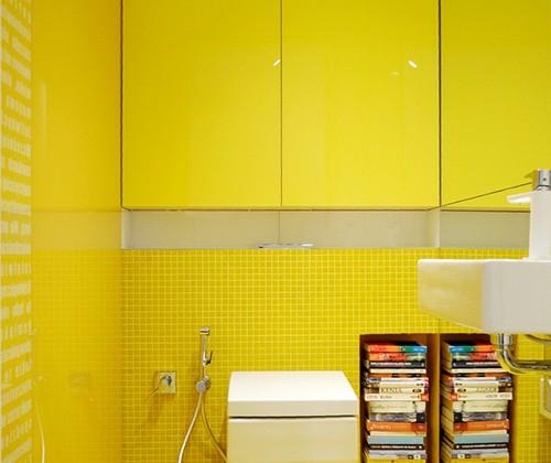 żółta łazienka, żółte kafle