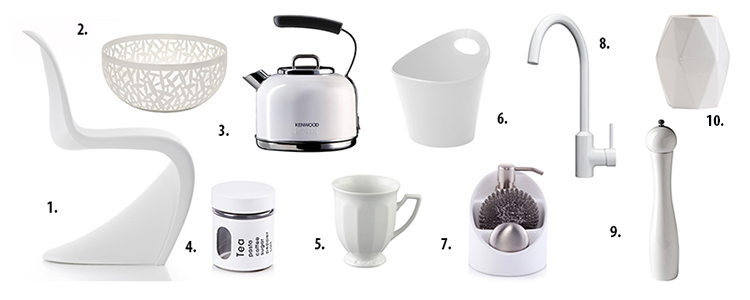 akcesoria kuchenne, białe dodatki, dodatki do kuchni